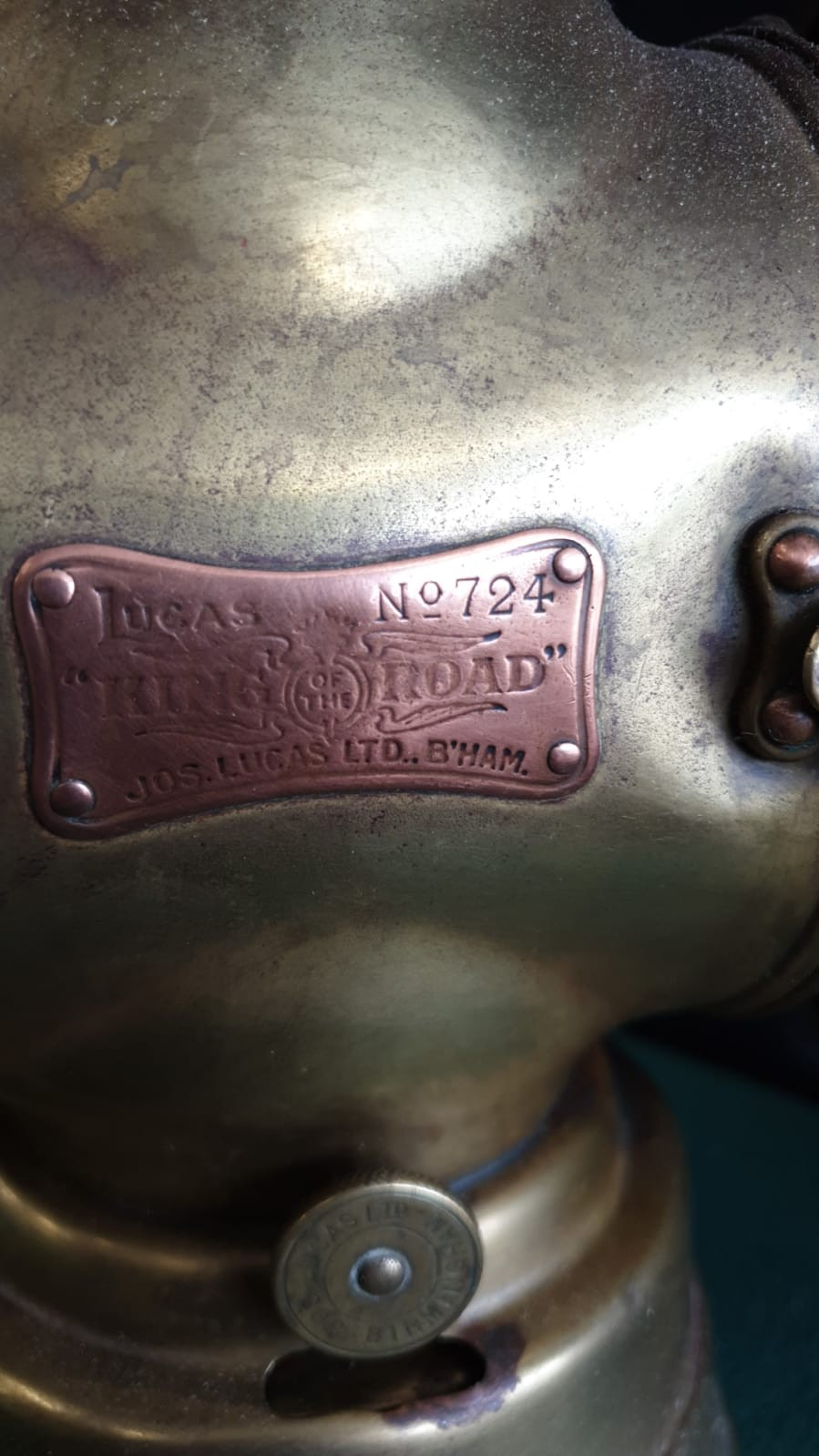 Large Lucas King Of The Road Vintage Motor Car Side Oil Lamp No 724 Height 32cms - Image 3 of 3