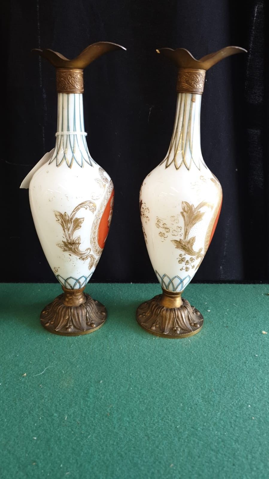 Pair Of Opaque Panel Painted Milk Glass Ewers With Metal Fixings. - Image 3 of 3
