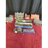 Selection of train oo gauge items includes loco and tender together with carriage and buildings etc.