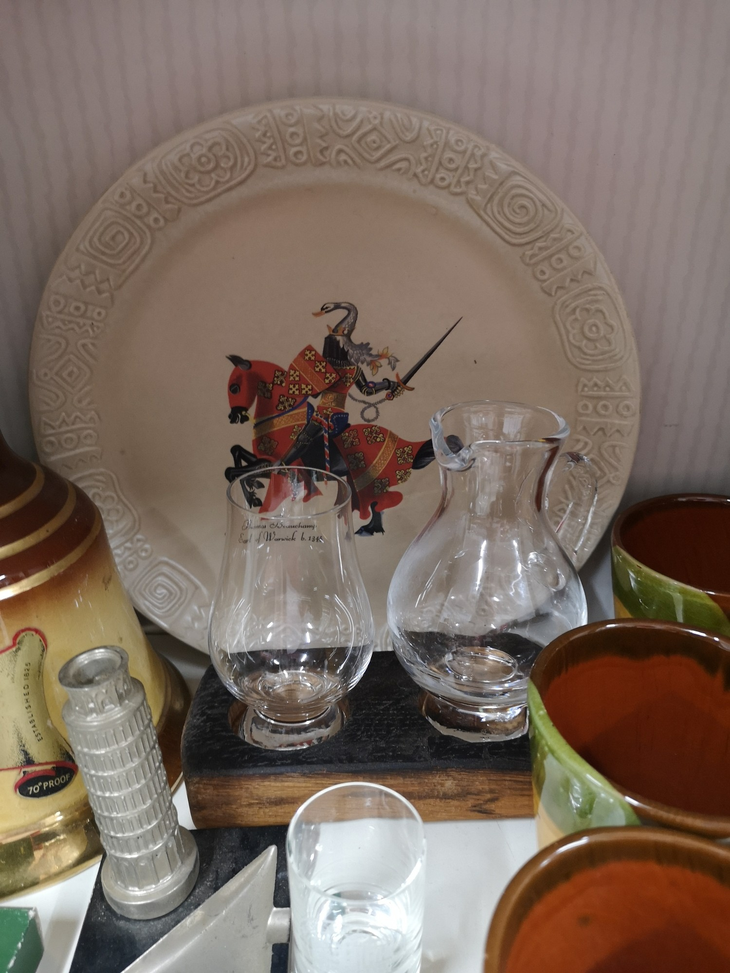 Shelf of collectables includes whisky jug and glass set on wooden plinth, gurgling jug etc. - Image 3 of 4