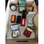 Box of Vintage travel clocks and jewellery etc .