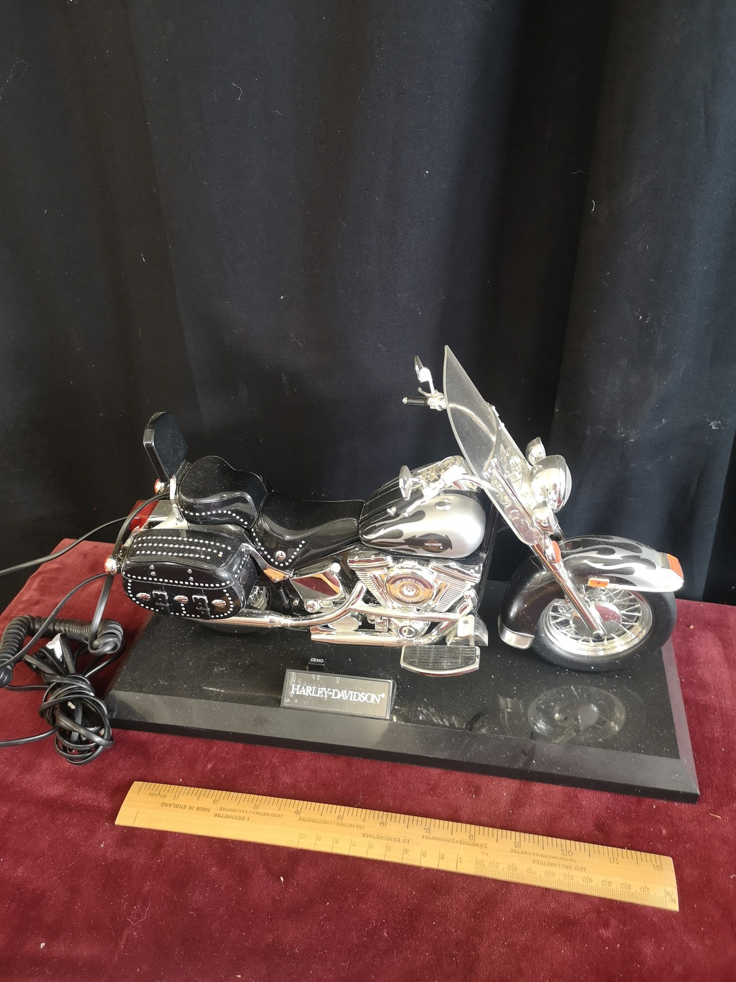 Hartley Davidson motorcycle telephone. 13 inches in length.