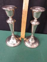 Large Silver Hallmarked Pair Of Candlesticks Maker EJC Birmingham Stands 8 inches Tall