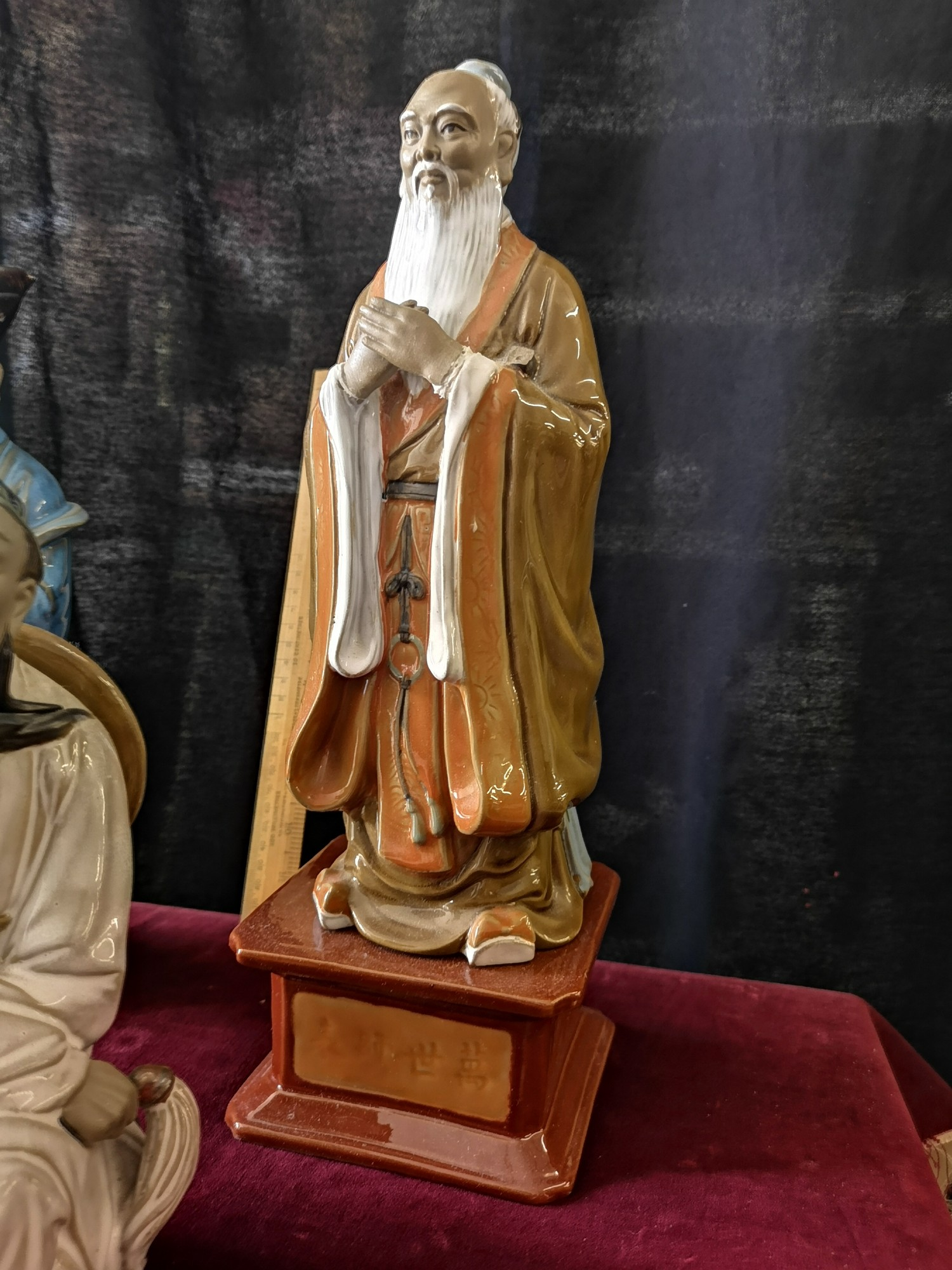 Large Oriental figure on plinth stand together with 2 large oriental figure. - Image 4 of 5