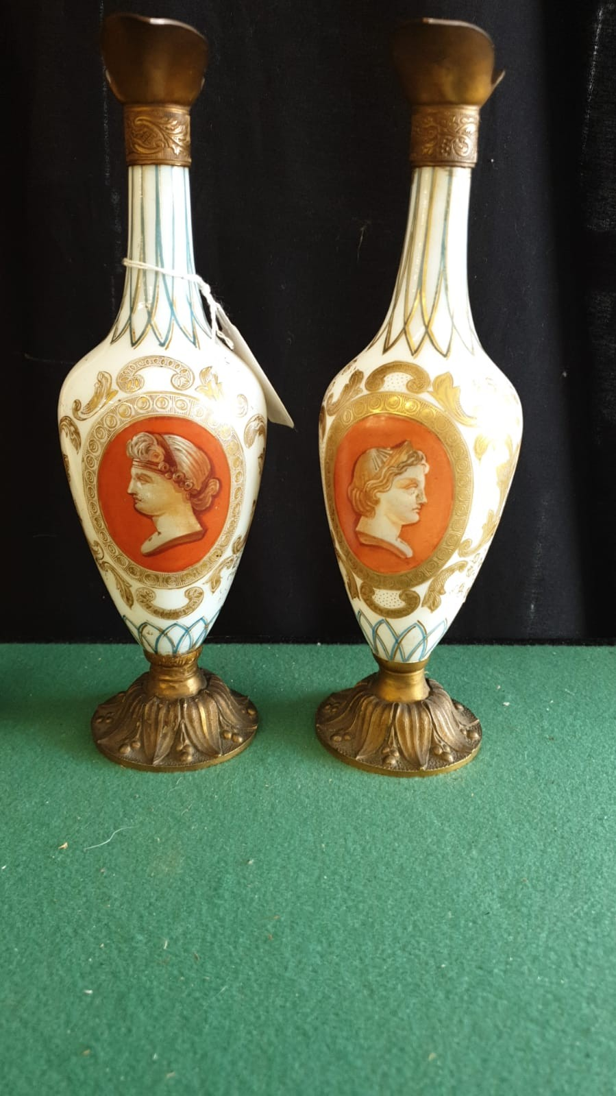 Pair Of Opaque Panel Painted Milk Glass Ewers With Metal Fixings. - Image 2 of 3