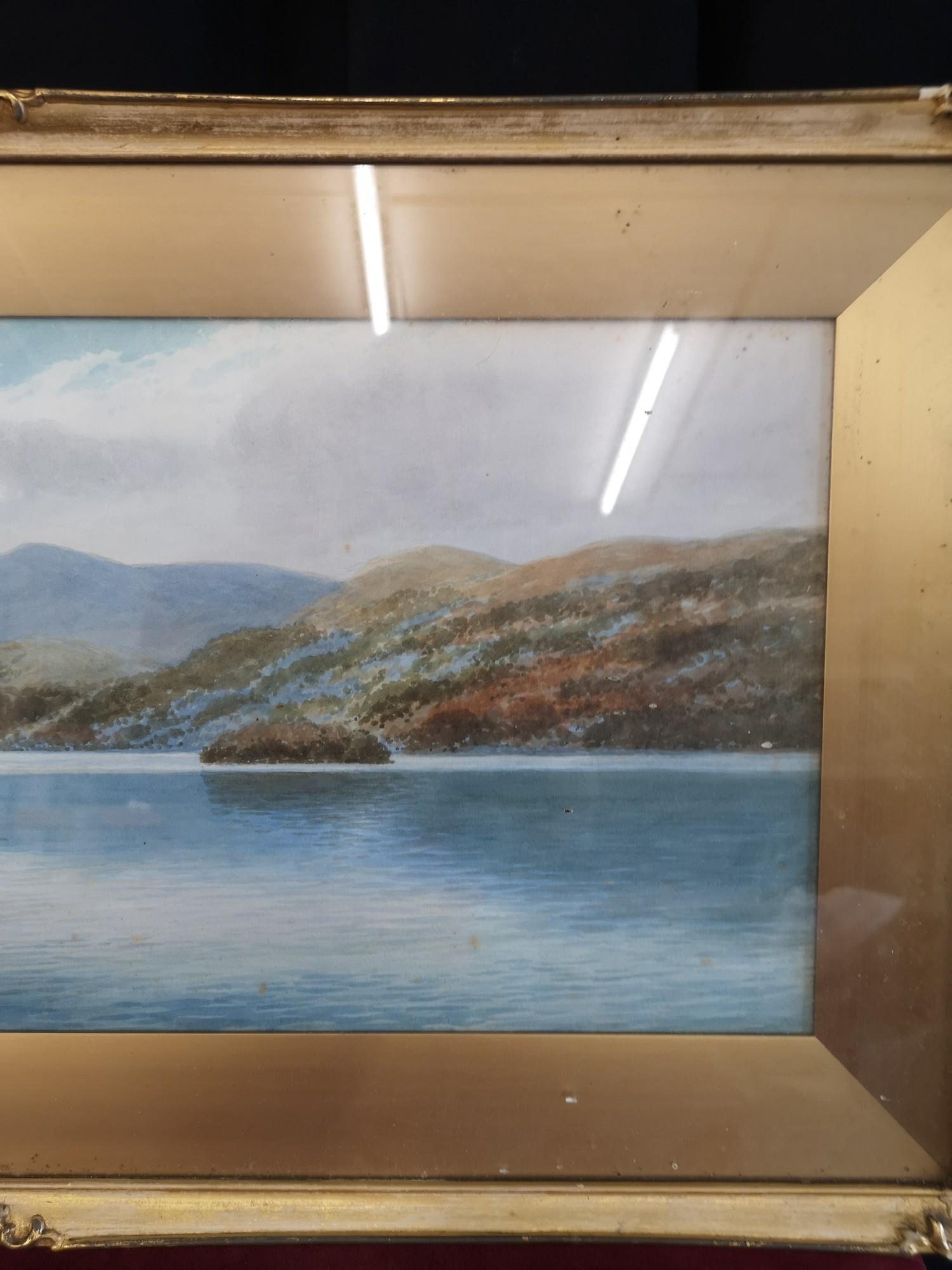 Scottish water colour of loch Highland scene signed Annette Darsons. In gilt frame. - Image 4 of 4