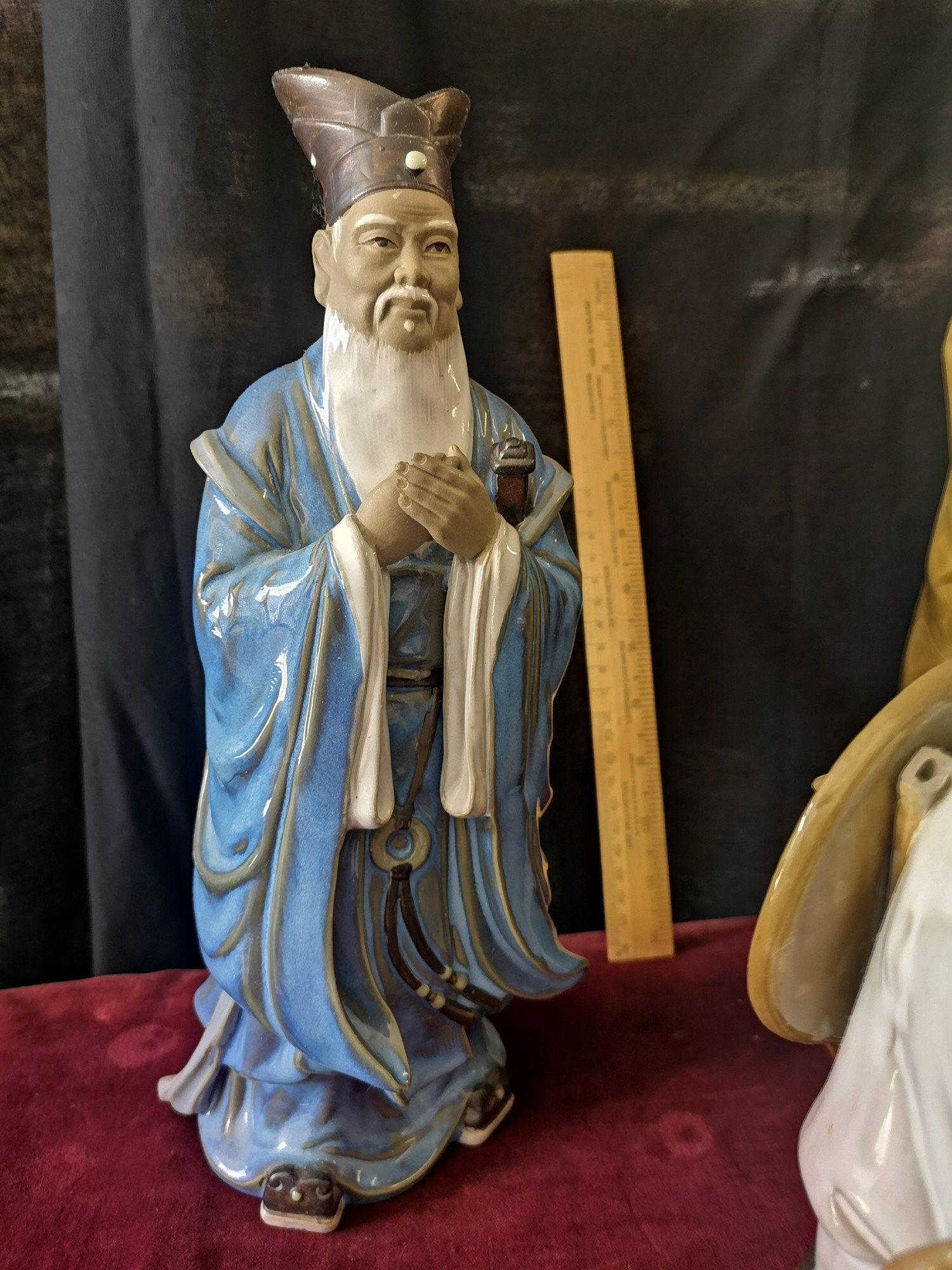 Large Oriental figure on plinth stand together with 2 large oriental figure. - Image 2 of 5