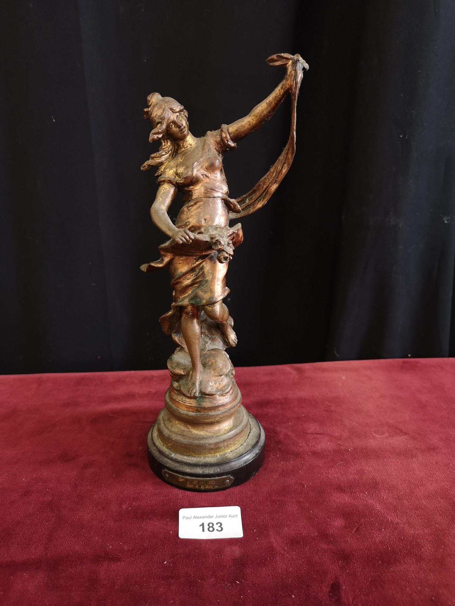 Cast metal spelter figure. 26 cm in height.