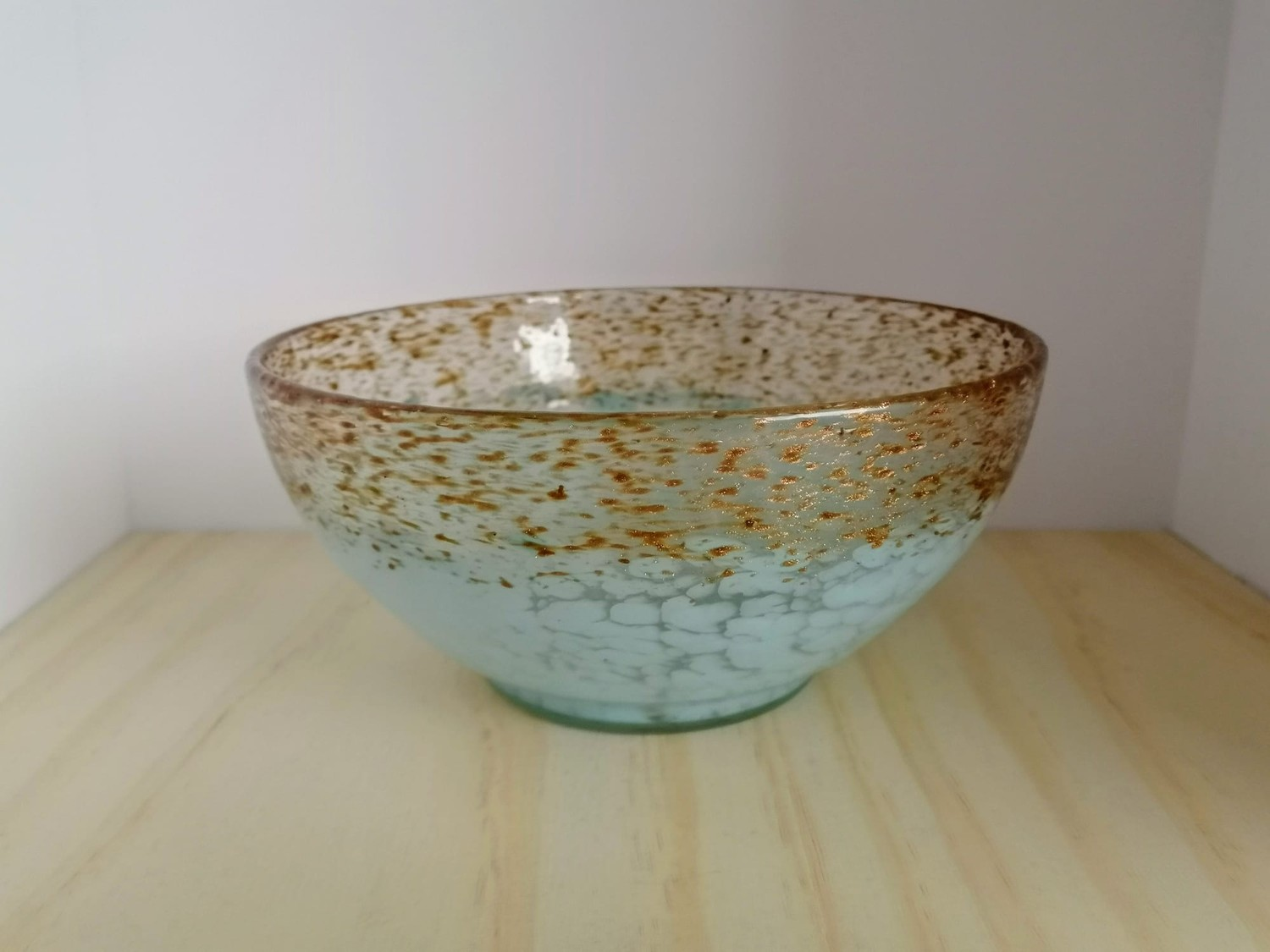 Scottish Monart glass Bowl in wedding Blue design shape MA, with clear and gold fleck adverturine