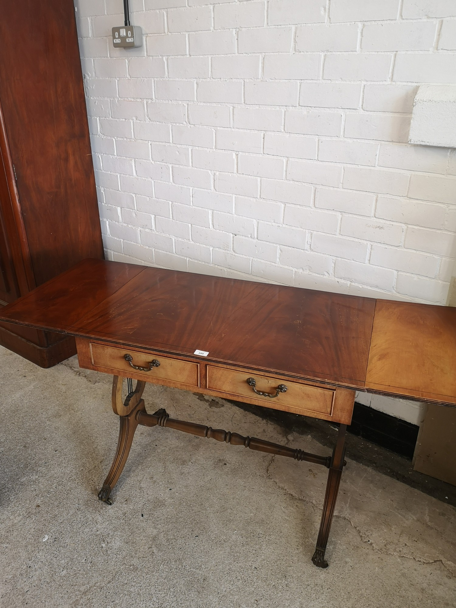 Reproduction drop leaf liar end table with 2 drawers. 5ft extended out with leafs in length. - Image 4 of 7