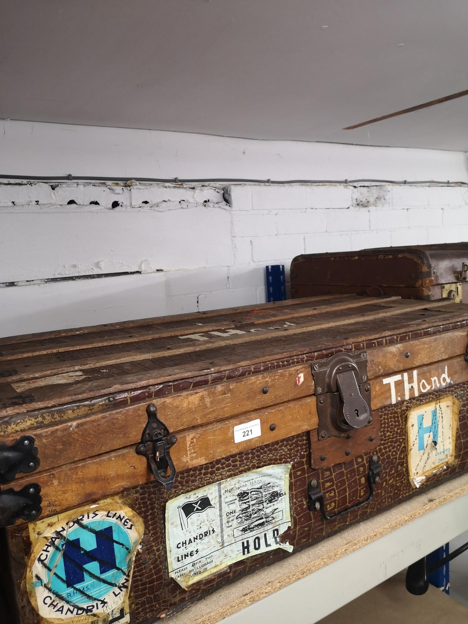 1900s wooden bound trunk with interior design