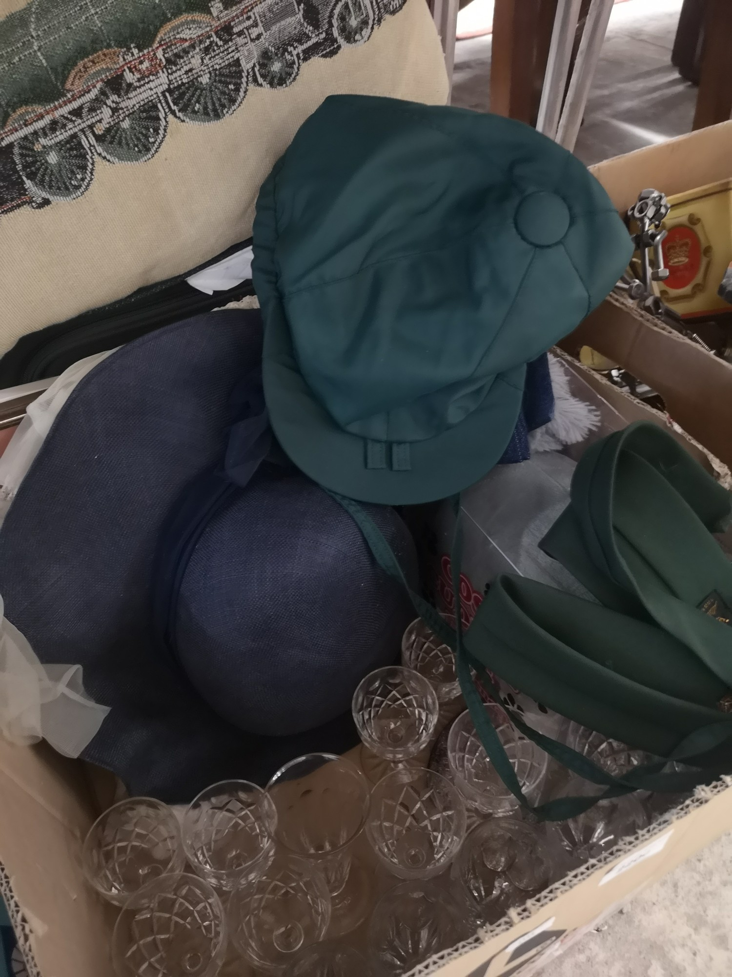 Box of event hats, crystal and train cushion. - Image 2 of 2