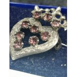 Silver Luckenbooth Brooch With Pink Stones makers wbs.