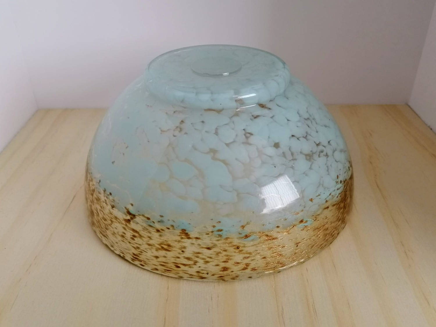 Scottish Monart glass Bowl in wedding Blue design shape MA, with clear and gold fleck adverturine - Image 2 of 2