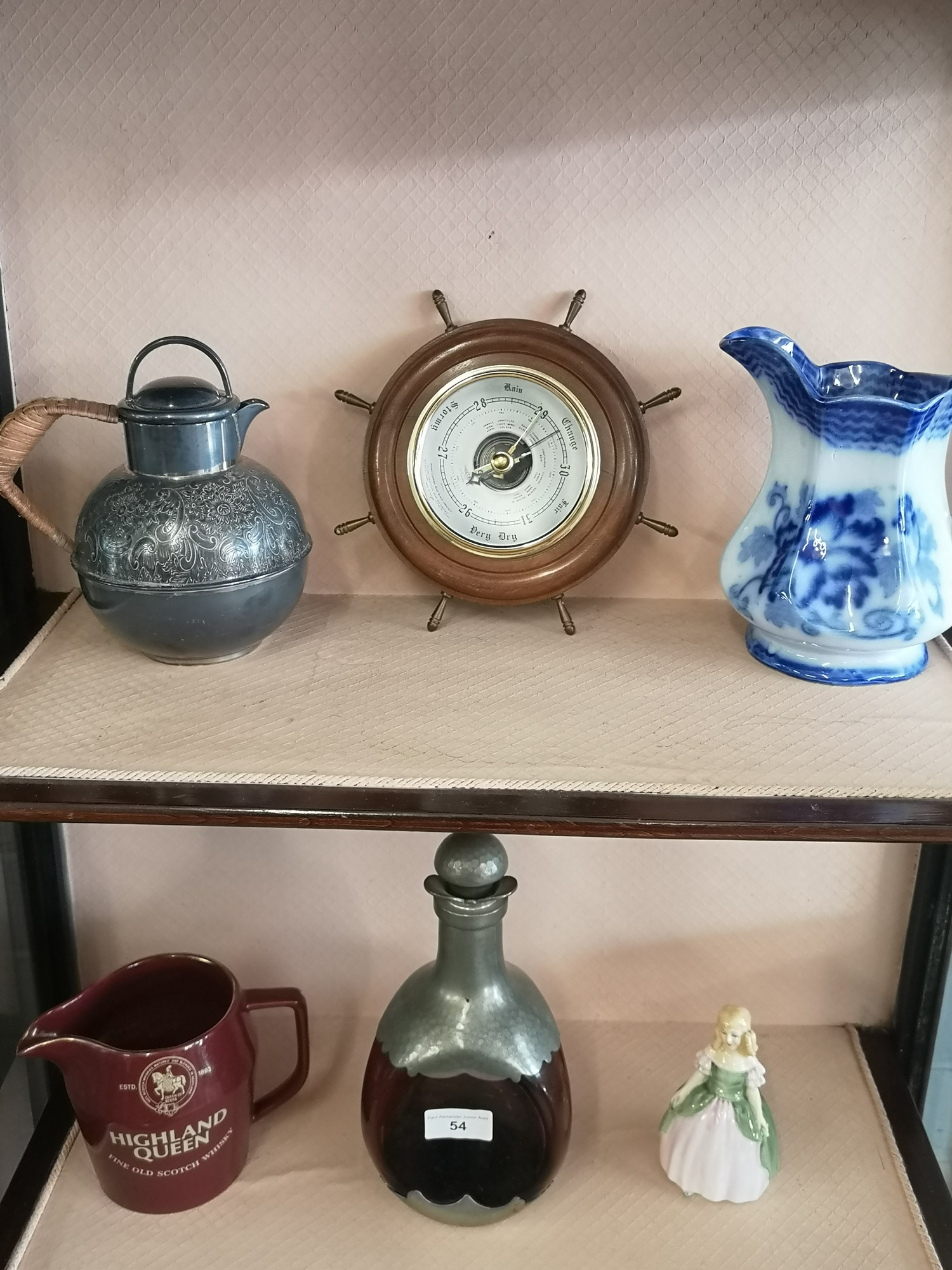 Lot of collectables includes barometer, royal doulton figure penny etc.