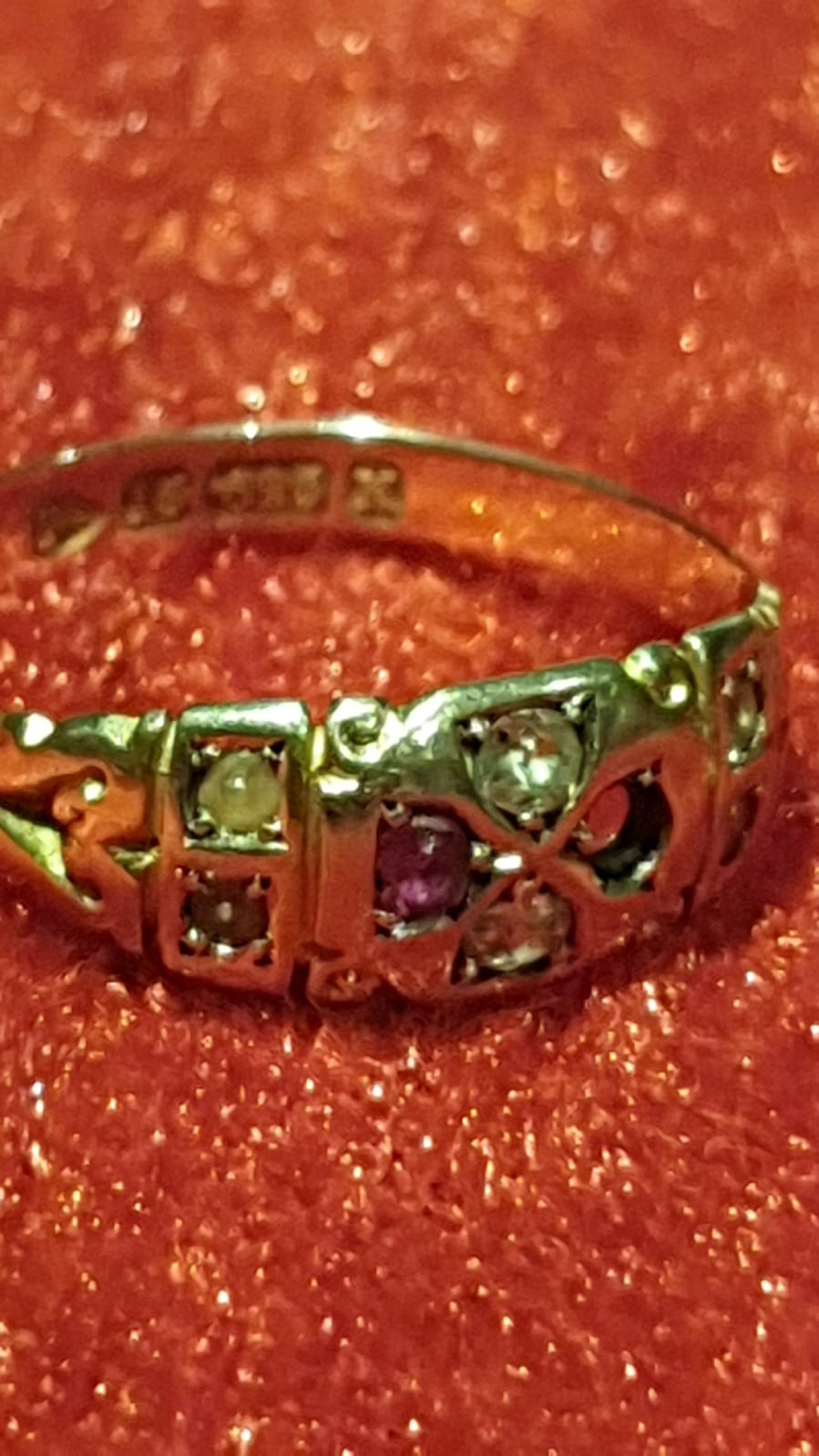 Victorian 15ct gold ring With Diamonds pearls and Ruby 1 Ruby missing 2.2g Beautiful ring. - Image 2 of 2