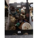 Box of collectables includes masons ginger jar etc.