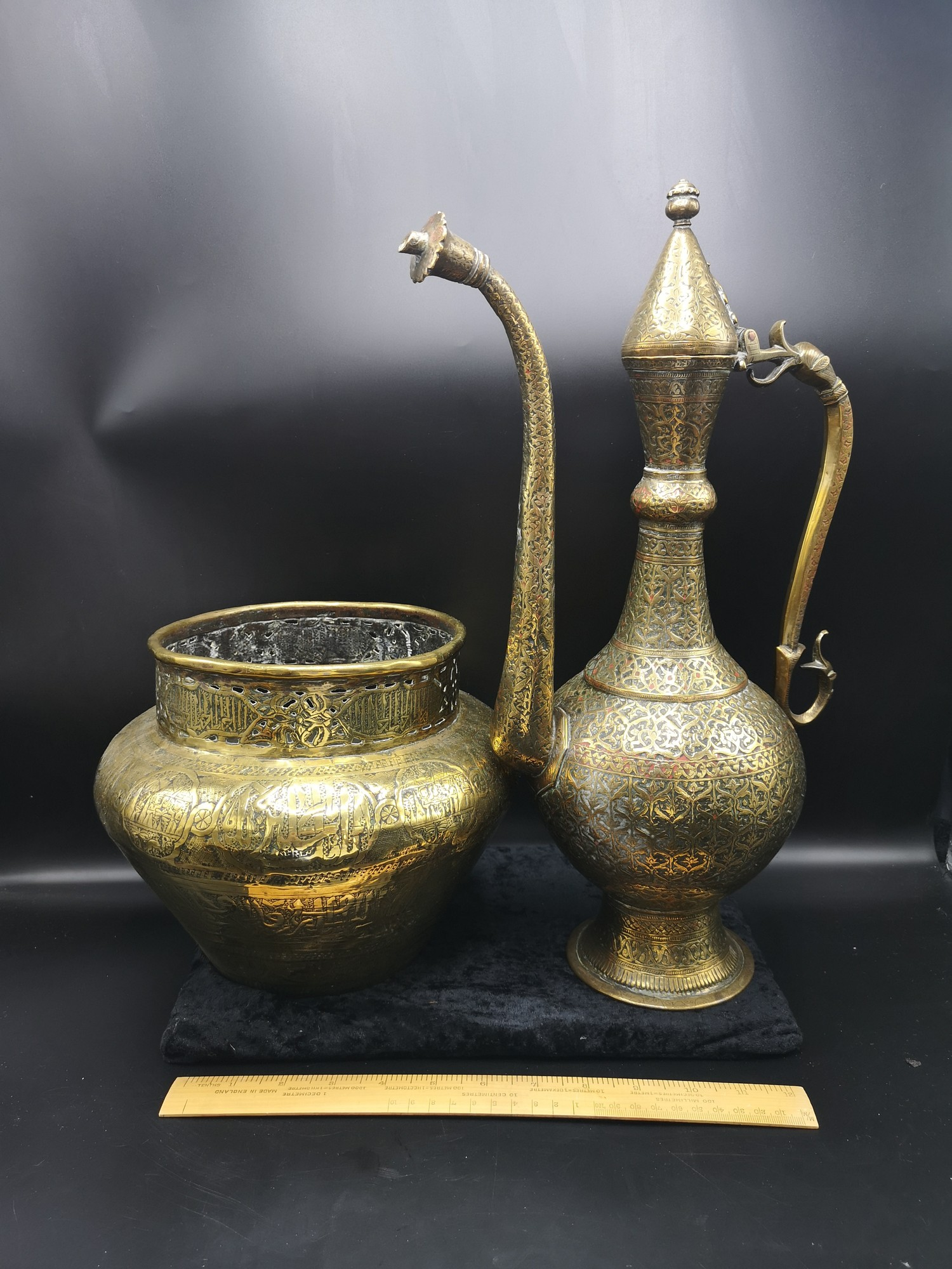 Large Arabic brass planter 8.5 inches in height together with large heavy ornate eastern tea pot
