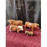 4 bull figures includes Cooper craft.