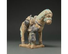 CHINA, MING DYNASTY GLAZED POTTERY HORSE AND GROOM