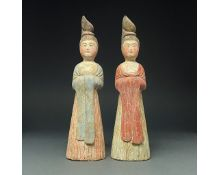 CHINA, TANG DYANSTY PAIR OF POTTERY STANDING LADIES