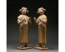 PAIR OF CHINESE TANG DYNASTY COURT ATTENDANTS - TL TESTED