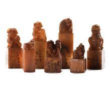 COLLECTION OF SEVEN CHINESE SHOUSHAN STONE SEALS