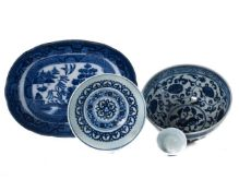 FOUR CHINESE BLUE AND WHITE PORCELAIN VESSELS