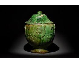 CHINESE TANG DYNASTY GREEN GLAZED TERRACOTTA JAR