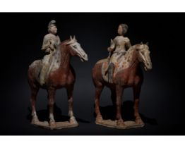 PAIR OF CHINESE TANG DYNASTY TERRACOTTA HORSES AND RIDERS- TL TESTED