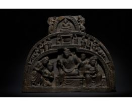 GANDHARA SCHIST STONE PANEL WITH BUDDHA AND HIS FOLLOWERS