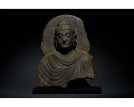 GANDHARA SCHIST STONE TORSO OF BUDDHA WITH HALO