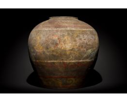 RARE CHINESE HAN DYNASTY TERRACOTTA VESSEL PAINTED WITH SCENES