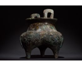 CHINESE WESTERN ZHOU BRONZE VESSEL, DING- XRF TESTED
