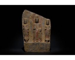 CHINESE NORTHER WEI STONE PANEL WITH DEPUCTION OF BUDDHA