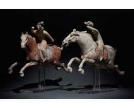 PAIR OF CHINESE TANG DYNASTY TERRACOTTA POLO PLAYERS - TL TESTED