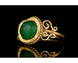 LATE ROMAN GOLD AND GLASS RING - EX CHRISTIE'S - FULL ANALYSIS