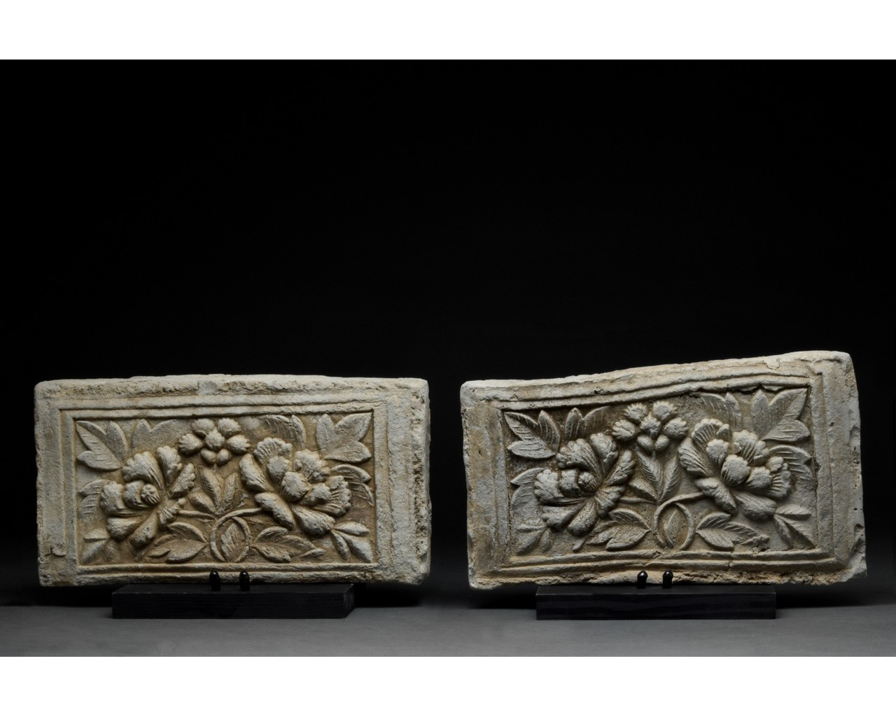 PAIR OF CHINESE SONG DYNASTY TERRACOTTA BRICKS