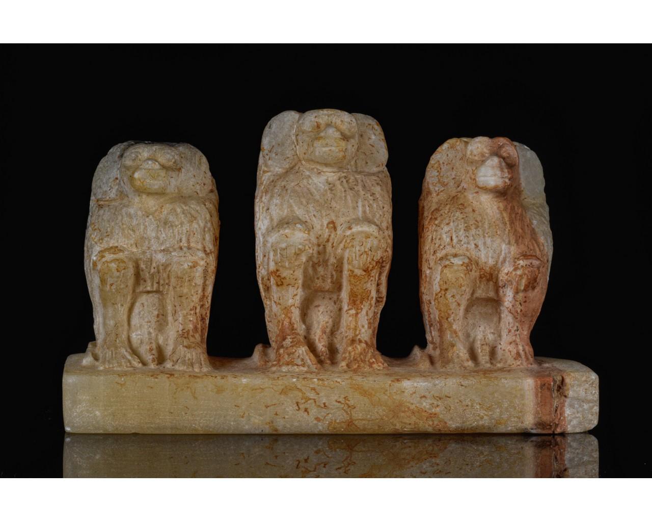 EGYPTIAN SCRIBAL SET OF THREE BABOONS