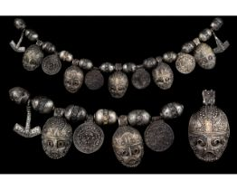 RARE VIKING SILVER NECKLACE WITH BEADS AND AMULETS