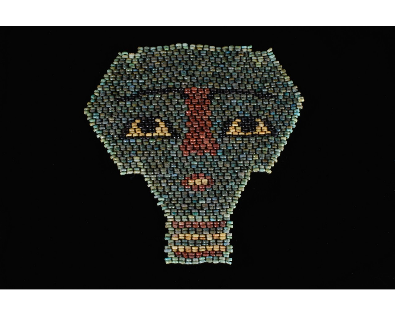 EGYPTIAN BLUE BEADED MUMMY MASK