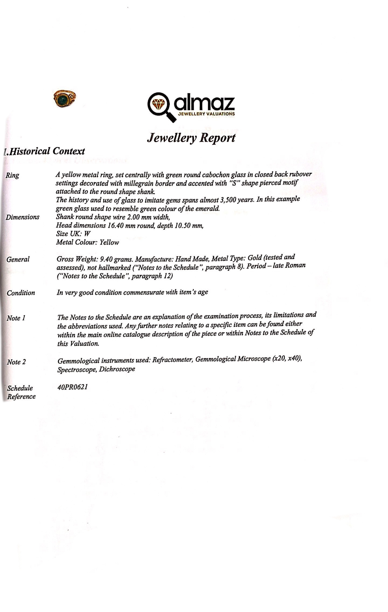 LATE ROMAN GOLD AND GLASS RING - EX CHRISTIE'S - FULL ANALYSIS - Image 7 of 8