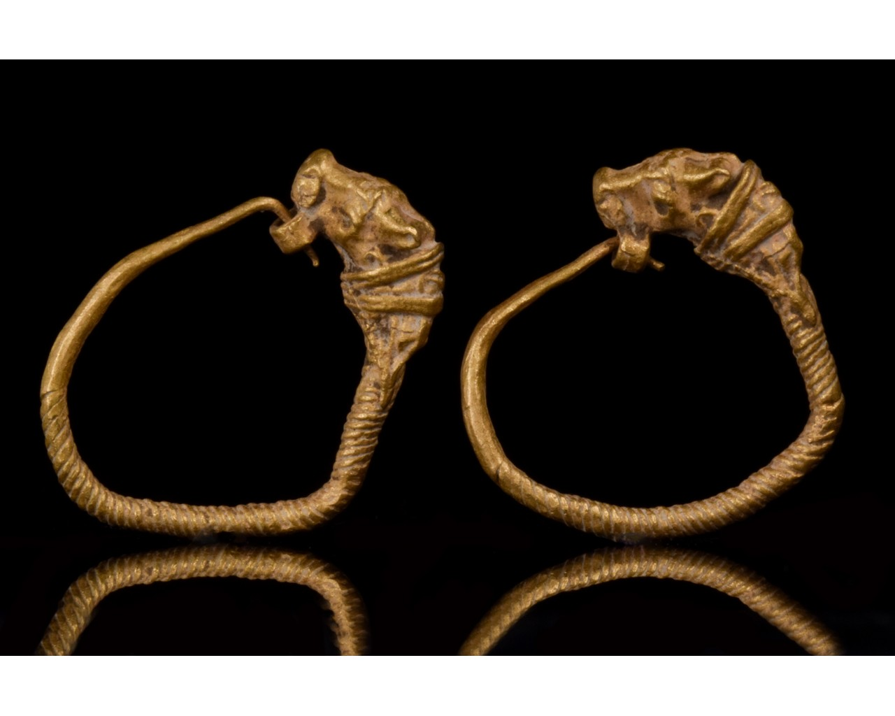 HELLENISTIC GOLD EARRINGS WITH LIONS - XRF TESTED - Image 2 of 8