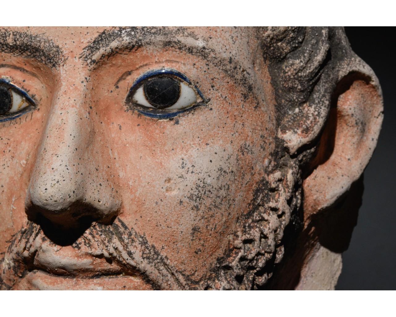 EGYPTIAN GRECO-ROMAN CERAMIC FACE - Image 6 of 9