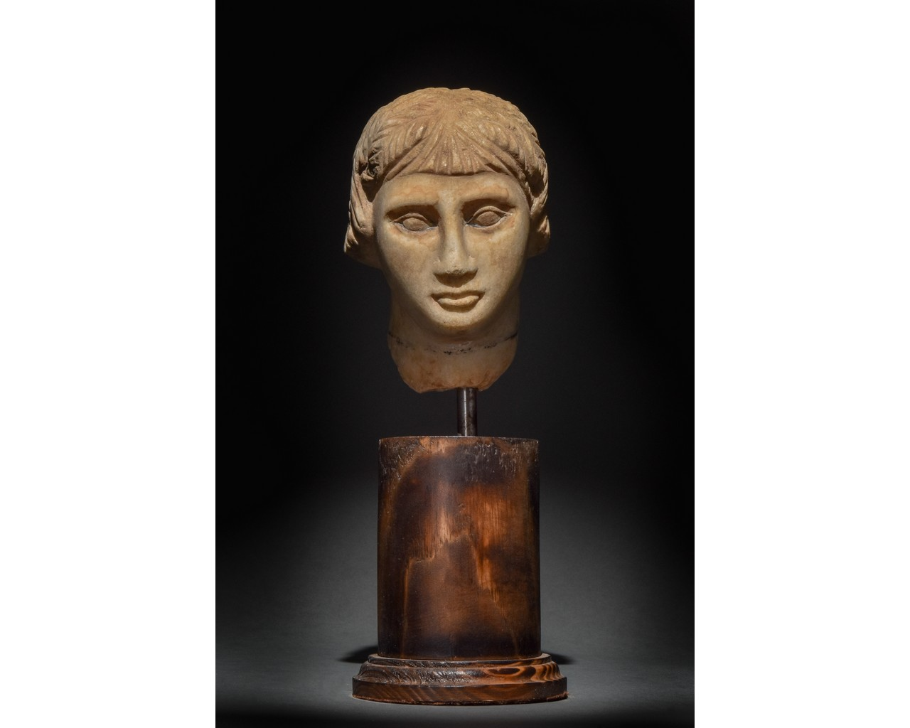 EGYPTIAN MARBLE HEAD OF A WOMAN