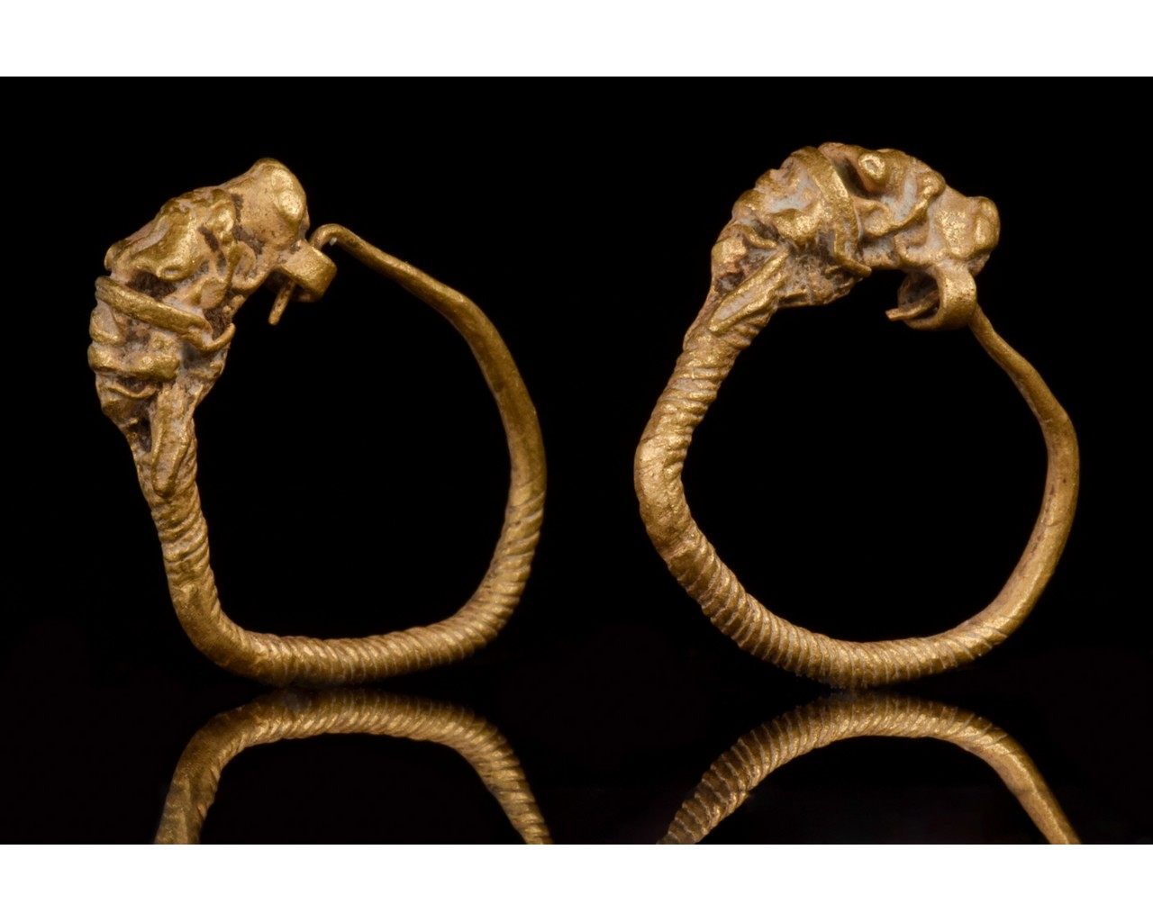 HELLENISTIC GOLD EARRINGS WITH LIONS - XRF TESTED - Image 3 of 8