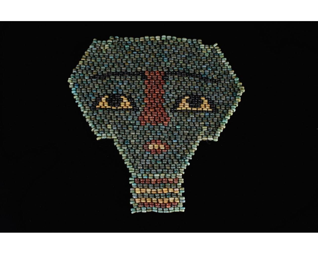 EGYPTIAN BLUE BEADED MUMMY MASK - Image 2 of 7