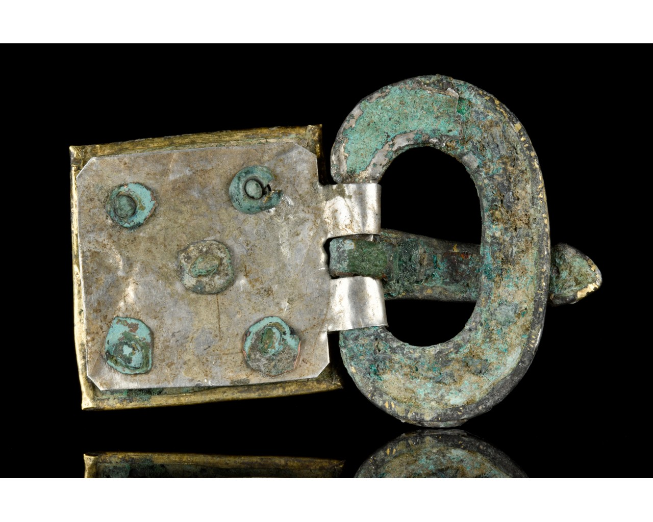 MEDIEVAL MEROVINGIAN SILVER BUCKLE WITH GEMS - Image 3 of 6