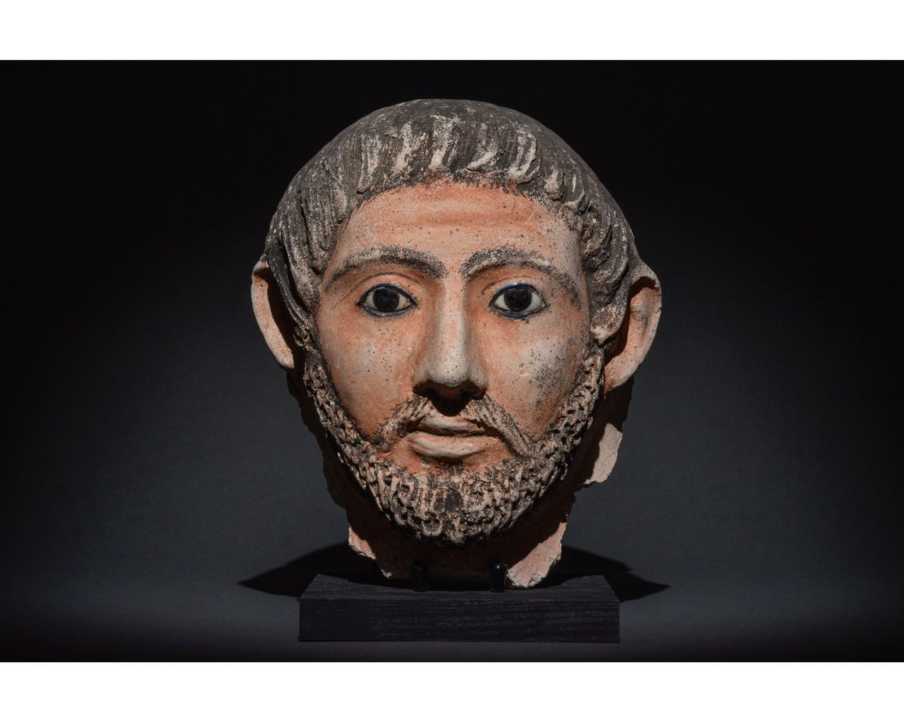 EGYPTIAN GRECO-ROMAN CERAMIC FACE