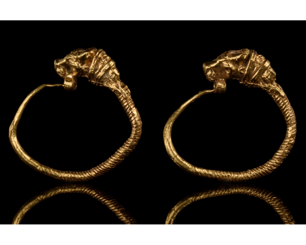 GREEK HELLENISTIC GOLD EARRINGS WITH LIONS - FULL ANALYSIS - Image 2 of 8